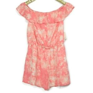 Decree Romper Shorts Large Pink White Tie Dye